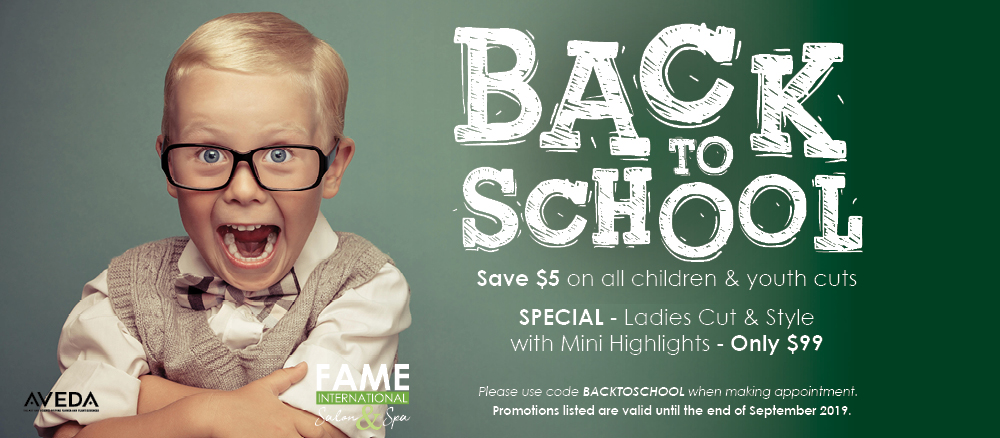 Back to School Special! Save $5 on all children and youth hair cuts. Special - ladies cut and style with mini highlights for only $99.