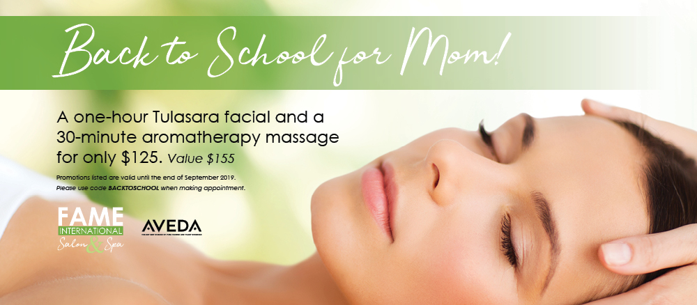 Back to School for Mom! a one-hour Tulasara facial and a 30-minute aromatherapy massage for only $125.